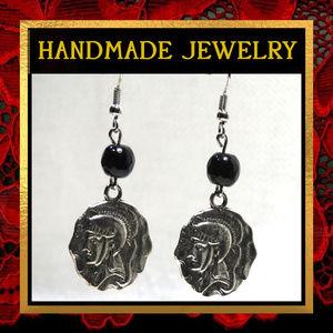 Roman Coin & Black Agate Gemstone Earrings #545
